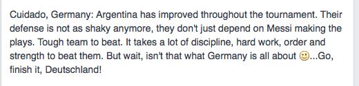 Esto puso un colega alemán en FB respecto a su selección. Y es cierto.